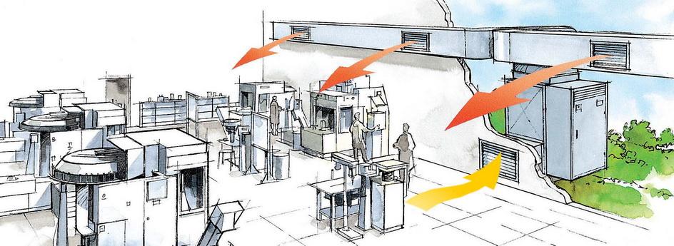 монтаж системы вентиляции для производственных помещений